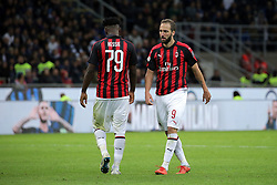 October 21, 2018 - Milan, Milan, Italy - Gonzalo Higuain #9 of AC Milan and Frank Kessie #79 of AC Milan reacts to a missed chance during the serie A match between FC Internazionale and AC Milan at Stadio Giuseppe Meazza on October 21, 2018 in Milan, Italy. (Credit Image: © Giuseppe Cottini/NurPhoto via ZUMA Press)