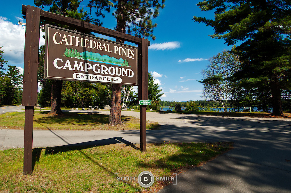 Campground entrance signage to Cathedral Pines, Eustis Maine.