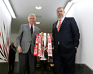 Kevin McCabe and Prince Abdullah bin Musa'ad bin Abdul Aziz with the League one trophy during the English League One match at  Bramall Lane Stadium, Sheffield. Picture date: April 30th 2017. Pic credit should read: Simon Bellis/Sportimage