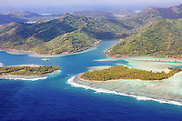 Aerial view of Huahine, French Polynesia