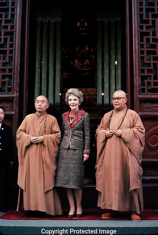 First Lady Nancy Reagan at an event in the Forbidden City during the visit of President Ronald Reagan to China  in April 1984.<br /> Photo by Dennis Brack