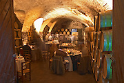 The underground vaulted barrel aging room set up for ceremonial dinner. Bodega Juanico Familia Deicas Winery, Juanico, Canelones, Uruguay, South America