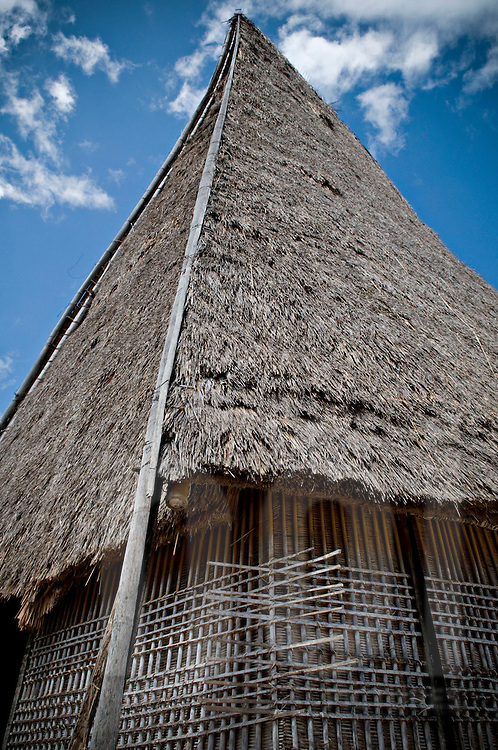 Traditional architecture of a Bahnar ethnic house with a straw roof, Pleiku area, Vietnam, Southeast Asia