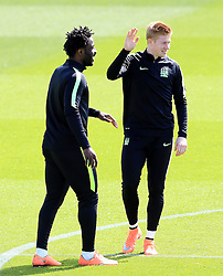 Kevin De Bruyne and Wilfried Bony of Manchester City  - Mandatory byline: Matt McNulty/JMP - 25/04/2016 - FOOTBALL - City Football Academy - Manchester, England - Manchester City v Real Madrid - UEFA Champions League Training Session