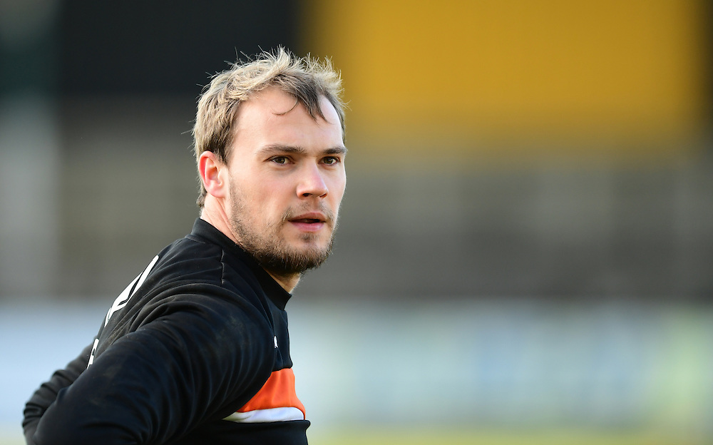 Blackpool's Sam Slocombe during the pre-match warm-up <br /> <br /> Photographer Chris Vaughan/CameraSport<br /> <br /> The EFL Sky Bet League Two - Cambridge United v Blackpool - Saturday 14th January 2017 - The Cambs Glass Stadium - Cambridge<br /> <br /> World Copyright © 2017 CameraSport. All rights reserved. 43 Linden Ave. Countesthorpe. Leicester. England. LE8 5PG - Tel: +44 (0) 116 277 4147 - admin@camerasport.com - www.camerasport.com