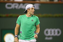 March 9, 2019 - Indian Wells, CA, U.S. - INDIAN WELLS, CA - MARCH 09: Bjorn Fratangelo (USA) reacts to a point during the BNP Paribas Open on March 9, 2019 at Indian Wells Tennis Garden in Indian Wells, CA. (Photo by George Walker/Icon Sportswire) (Credit Image: © George Walker/Icon SMI via ZUMA Press)