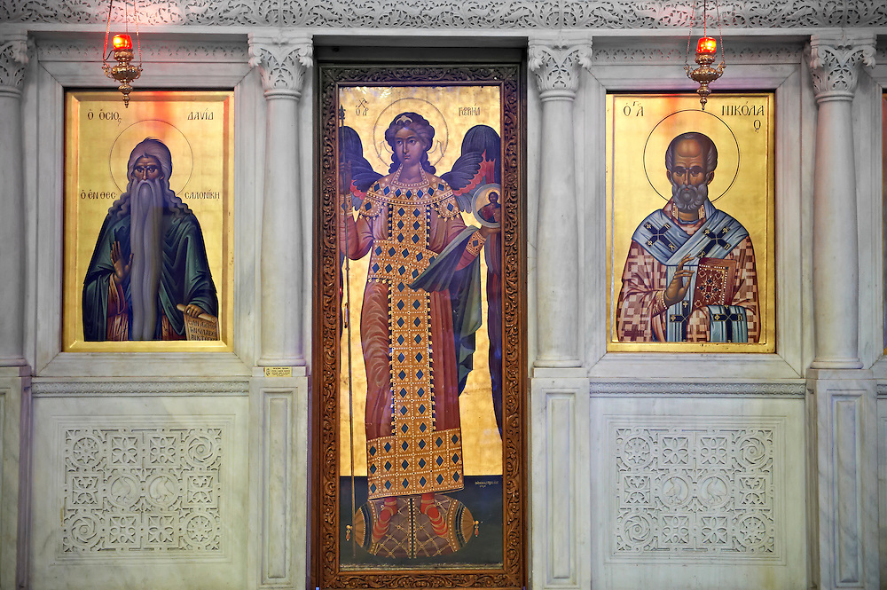 Icons in the 4th century AD Church of Saint Demetrius, or Hagios Demetrios,  , a Palaeochristian and Byzantine Monuments of Thessaloniki, Greece. A UNESCO World Heritage Site.