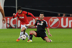 27.11.2013, BayArena, Leverkusen, GER, UEFA CL, Bayer Leverkusen vs Manchester United, Gruppe A, im Bild Shinji Kagawa ( links Manchester United ) setzt sich gegen Emir Spahic ( rechts Bayer 04 Leverkusen / Action / Aktion ) durch // during UEFA Champions League group A match between Bayer Leverkusen vs Manchester United at the BayArena in Leverkusen, Germany on 2013/11/28. EXPA Pictures © 2013, PhotoCredit: EXPA/ Eibner-Pressefoto/ Thienel<br /> <br /> *****ATTENTION - OUT of GER*****