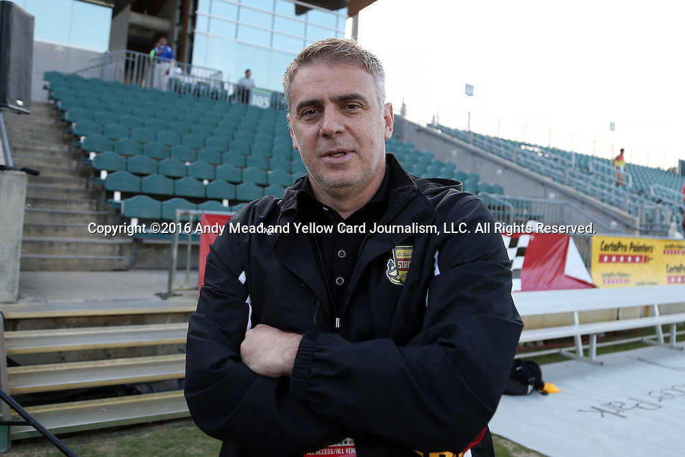 07 May 2016: Fort Lauderdale Managing Director Luis Cuccatti (BRA). The Carolina RailHawks hosted the Fort Lauderdale Strikers at WakeMed Stadium in Cary, North Carolina in a 2016 North American Soccer League Spring Season game. The Strikers won the game 3-1.