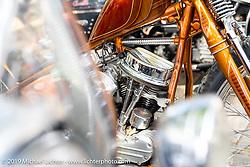 Ray Llanes with his Warren Lane built 1959 Harley-Davidson Panhead Chopper at Warren Lane's True Grit Antique Gathering bike show at the Broken Spoke Saloon in Ormond Beach during Daytona Beach Bike Week, FL. USA. Sunday, March 10, 2019. Photography ©2019 Michael Lichter.