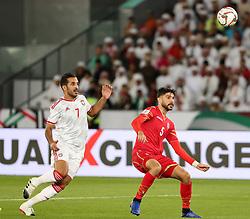 ABU DHABI, Jan. 6, 2019  Bahrain's Hamad Mahmood Alshamsan (R) competes with Ali Ahamed Mabkhout of the United Arab Emirates.    during the opening match of the AFC Asian Cup UAE 2019 in Abu Dhabi, the United Arab Emirates (UAE), on Jan. 5, 2019. The match ended in a 1-1 draw. (Credit Image: © Lg/Xinhua via ZUMA Wire)