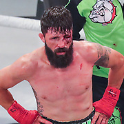 HOLLYWOOD, FL - JUNE 26: Travis Thompson has the fight stopped due to an eye cut against Jarod Grant during the Bare Knuckle Fighting Championships at the Seminole Hard Rock & Casino on June 26, 2021 in Hollywood, Florida. (Photo by Alex Menendez/Getty Images) *** Local Caption *** Jarod Grant; Travis Thompson