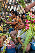 Mexico, Guerrero: Holy week in Taxco : Sale of sacred images made of bamboo leaves in the main square of Taxco