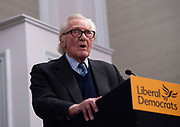 Lord Michael Heseltine Liberal Democrats <br /> General Election 2019 Campaign <br /> Press Conference with Chuka Umunna, Sam Gyimah and Lord Heseltine <br /> 27th November 2019 <br /> At  De Vere Grand Connaught Room, London, Great Britain <br /> <br /> Sam Gyimah and Chuka Umunna host a press conference where they are joined by Lord Heseltine, who made a speech about Brexit and the forthcoming election followed by a Q & A. <br /> <br /> <br /> <br /> <br /> Photograph by Elliott Franks