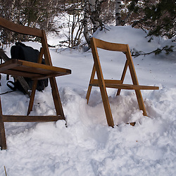 Chairs placed in the snow for the actors between scenes.