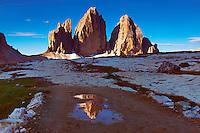 Mountain impression Tre Cime mirrored in pond - Europe, Italy, South Tyrol, Sexten Dolomites, Tre Cime - Forenoon - July 2009 - Mission Dolomites Tre Cime