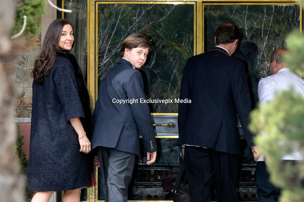 MADRID, SPAIN, 2016, FEBRUARY 27 <br /> <br /> King Juan Carlos among the guests at the wedding of Beltran Gomez Acebo with Andrea Pascual. To the home of her sister Infanta Pilar His Majesty, came to be present at the wedding of his nephew. They met at the wedding of Fiona Ferrer and Jaime Polanco in July 2009 and since then the friendship quickly gave way to something deeper in their relationship. Andrea was one of the twelve bridesmaids accompanying the bride. At that time she worked in Elite Model Look modeling agency directing Fiona Ferrer in the capital. For Gomez-Acebo was his second marriage. In 2004, the King's Felipe cousin married the model and jewelry designer Laura Ponte in the Royal Palace of La Granja in Segovia. The link, officiated at the famous Royal Collegiate Church of the Holy Trinity Parish, attended by the royal family to complete. After six years of courtship, the wedding took place on Saturday 27 February at the home of Princess Pilar, mother of the groom, in the urbanization Puerta de Hierro in Madrid. It was an intimate ceremony at and inside the house followed by a lunch that the sister of King Juan Carlos was in charge. The bride, her hair pulled back in a simple bun, earrings cascading, chose a white long-sleeved dress designed by Isabel Nunez and carried a bouquet of calla lilies. The bride and groom were accompanied by about 35 people, including parents, siblings, brothers and nephews<br /> ©Exclusivepix Media