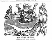 Atlantic Telegraph: Father Neptune blessing Britannia and Uncle Sam on the successful laying of the Atlantic Telegraph Cable. Cartoon by Charles Samuel Keene (1823-1891) from 'Punch' London 11 August 1866.