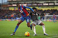 Wilifried Zaha of Crystal Palace challenges Willian of Chelsea. Barclays Premier League match, Crystal Palace v Chelsea at Selhurst Park in London on Sunday 3rd Jan 2016. pic by John Patrick Fletcher, Andrew Orchard sports photography.