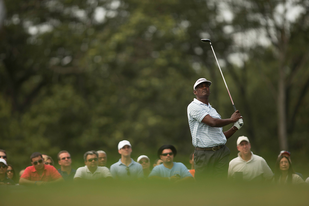 FARMINGDALE, NY - AUGUST 25:  Vijay Singh of Fiji plays a tee shot during the third round of the 2012 Barclays at the Black Course at Bethpage State Park in Farmingale, New York on August 25, 2012. (Photograph ©2012 Darren Carroll) *** Local Caption *** Vijay Singh