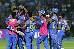 April 22, 2018 - Jaipur, Rajasthan, India - Rajasthan Royals batsman Krishnappa Gowtham celebrate the victory  with teammates during the IPL T20 match against  Mumbai Indians  at Sawai Mansingh Stadium in Jaipur on 22 April,2018.(Photo By Vishal Bhatnagar/NurPhoto) (Credit Image: © Vishal Bhatnagar/NurPhoto via ZUMA Press)