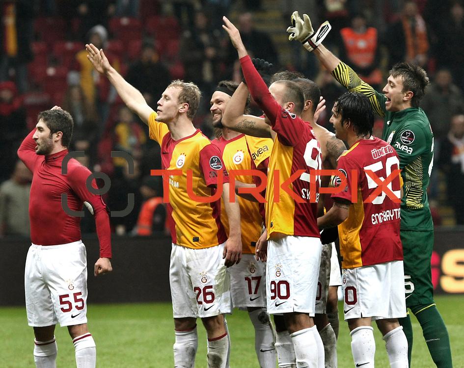 Galatasaray's players celebrate victory during their Turkish Super League soccer match Galatasaray between Kardemir Karabukspor at the Turk Telekom Arena at Seyrantepe in Istanbul Turkey on Saturday 14 January 2012. Photo by TURKPIX