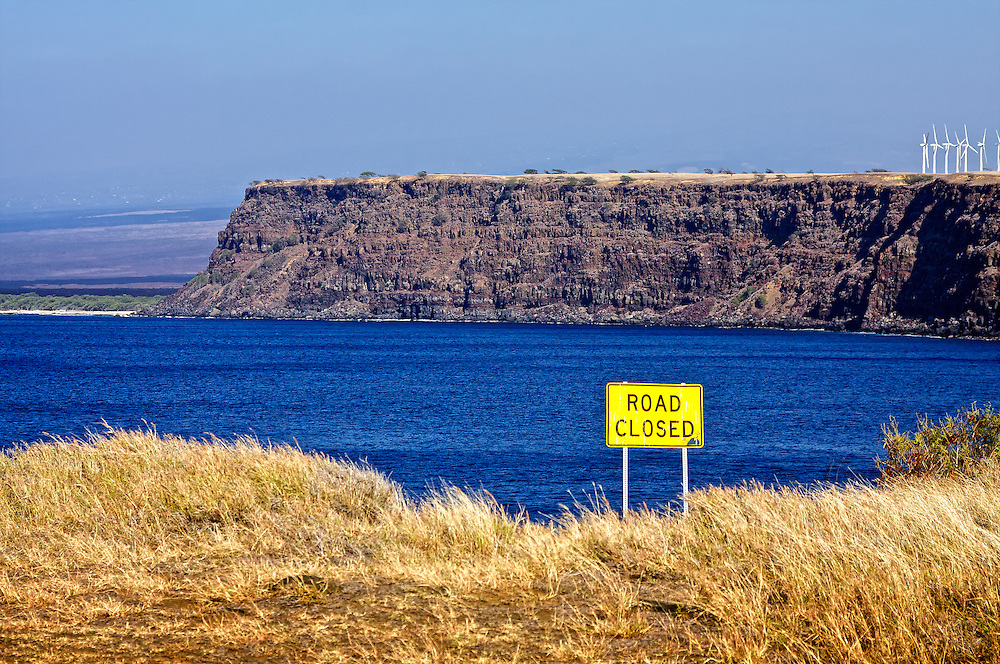 The southern-most tip of the USA, Ka Lae, on the island of Hawaii. The road ends here.