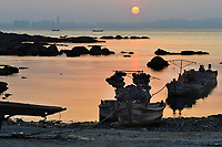 """Fisherman's beach, Yangma island, prefecture Yantai, Shandong, China. Yangma Island is situated by the Yellow Sea and it is called """"the pearl in the sea""""."""