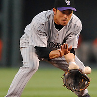 08 June 2007:  Colorado Rockies second baseman Kazuo Matsui (7) fields a ground ball in the 3rd inning off the bat of Baltimore Orioles right fielder Nick Markakis.  The Orioles defeated the Rockies 4-2 in interleague play at Camden Yards in Baltimore, MD.   ****For Editorial Use Only****