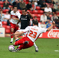 Photo: Mark Stephenson.<br /> Walsall v Port Vale. Coca Cola League 1. 08/09/2007.<br /> Walsall's no 10 Paul Boertien cleares the ball