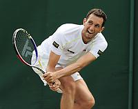 Tennis - 2019 Wimbledon Championships - Week One, Tuesday (Day Two)<br /> <br /> Men's Singles, 1st Round: James Ward (GBR) v Nikoloz Basilashvili (GEO)<br /> <br /> Men's Singles, 1st Round:  <br /> <br /> James Ward on Court 17<br /> <br /> COLORSPORT/ANDREW COWIE
