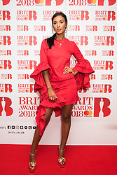 EDITORIAL USE ONLY XXXX Maya Jama attending the Brit Awards 2018 Nominations event held at ITV Studios on Southbank, London. Photo credit should read: David Jensen/EMPICS Entertainment