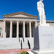 District of Columbia Court of Appeals building in downtown Washington DC with statue of US President Abraham Lincoln
