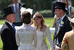 Mike Tindall, Kate Middleton, Princess Beatrice of York, and Prince William, Duke of Cambridge, during day one of Royal Ascot at Ascot Racecourse.