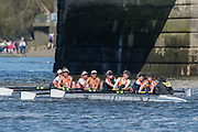 Mortlake/Chiswick, GREATER LONDON. United Kingdom. Lea Rowing Club/Milton Keynes Rowing Club, W.MasA.8+, competing in the 2017 Vesta Veterans Head of the River Race, The Championship Course, Putney to Mortlake on the River Thames.<br /> <br /> <br /> Sunday  26/03/2017<br /> <br /> [Mandatory Credit; Peter SPURRIER/Intersport Images]