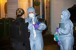 © Licensed to London News Pictures 19/01/2021.        Greenwich, UK. Forensics on scene. A murder investigation has been launched by police in Greenwich, South East London after a 74 year old man was found with a knife injury inside a residential property. He was pronounced dead at the scene. Photo credit:Grant Falvey/LNP