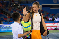 September 26, 2018 - Daria Kasatkina of Russia walks onto the court for her third-round match at the 2018 Dongfeng Motor Wuhan Open WTA Premier 5 tennis tournament (Credit Image: © AFP7 via ZUMA Wire)