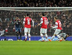 Bayern Munich's David Alaba drags his penalty wide - Photo mandatory by-line: Joe Meredith/JMP - Tel: Mobile: 07966 386802 19/02/2014 - SPORT - FOOTBALL - London - Emirates Stadium - Arsenal v Bayern Munich - Champions League - Last 16 - First Leg