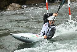 Niko Testen of Slovenia competes during the Kayak Single (K1) men race in Semifinal of European Open Canoe Slalom Cup on April 18, 2021 in Tacen, Ljubljana, Slovenia. Photo by Vid Ponikvar / Sportida