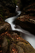 Water Flows through a narrow gorge in Seven Tubs Nature Area.