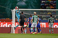 Krityuk saves in the limit during the Liga NOS match between Sporting Lisbon and Belenenses SAD at Estadio Jose Alvalade, Lisbon, Portugal on 21 April 2021.