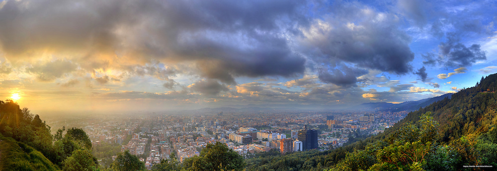 Panorama of Bogota, Columbia.  Image created 2010. <br /> Print Size (in inches): 15x5; 24x8; 36x12.5; 48x16.5; 60x20.5; 72x30