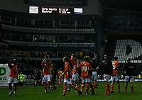 Photo: Steve Bond.<br />Derby County v Blackpool. Carling Cup. 28/08/2007. Blackpool celebrate under the scoreboard