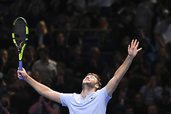 November 16, 2017 - London, England, United Kingdom - Jack Sock of the United States celebrates victory in his Singles match against Alexander Zverev of Germany during day five of the Nitto ATP World Tour Finals at O2 Arena on November 16, 2017 in London, England. (Credit Image: © Alberto Pezzali/NurPhoto via ZUMA Press)