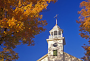 Image of the Universalist Society of Strafford Church steeple in fall, South Strafford, Vermont, American Northeast by Randy Wells