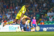 Burton Albion forward Lucas Akins (10) is halted during the EFL Sky Bet League 1 match between Southend United and Burton Albion at Roots Hall, Southend, England on 22 April 2019.