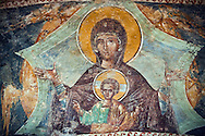 The 11th century Roman Byzantine Church of the Holy Saviour in Chora and a fresco of the Virgin Mary and Jesus in the parecclesion chapel Endowed between 1315-1321 by the powerful Byzantine statesman and humanist  Theodore Metochites. Kariye Museum  Istanbul .<br /> <br /> If you prefer to buy from our ALAMY PHOTO LIBRARY  Collection visit : https://www.alamy.com/portfolio/paul-williams-funkystock/holy-saviour-chora-istanbul.html<br /> <br /> Visit our TURKEY PHOTO COLLECTIONS for more photos to download or buy as wall art prints https://funkystock.photoshelter.com/gallery-collection/3f-Pictures-of-Turkey-Turkey-Photos-Images-Fotos/C0000U.hJWkZxAbg