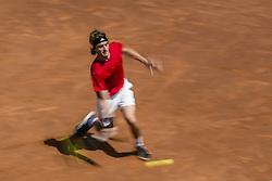 April 27, 2018 - Barcelona, Catalonia, Spain - STEFANOS TSITSIPAS (GRE) returns the ball to Dominic Thiem (AUT) in their quarter final of the 'Barcelona Open Banc Sabadell' 2018. Tsitsipas won 6:3, 6:2 (Credit Image: © Matthias Oesterle via ZUMA Wire)