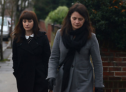 © Licensed to London News Pictures.16/12/2013. London, UK. Italian Sisters Elisabetta 'Lisa' (R) and Francesca (in dark jacket) Grillo, who are the former personal assistants to Charles Saatchi and Nigella Lawson, arriving at Isleworth Crown Court in London. The pair, who face fraud charges, are accused of misappropriating funds while working for Saatchi and Lawson.Photo credit : Peter Kollanyi/LNP