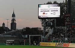 26.10.2011, Millerntor-Stadion, Hamburg, GER, FSP, Deutschland vs Schweden, im Bild Feature Anzeigetafel im Millerntor-Stadion, links der Michel..// during the friendly match Deutschland vs Schweden on 2011/10/26, Millerntor-Stadion, Hamburg, Germany..EXPA Pictures © 2011, PhotoCredit: EXPA/ nph/  Frisch       ****** out of GER / CRO  / BEL ******